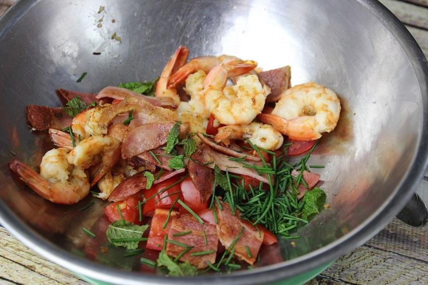 Ingredients for prawn salad