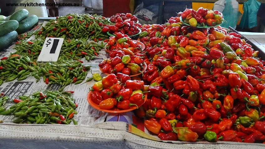 Cooking in Suva, Chillis on display