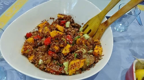 Roasted eggplant and pumpkin with red quinoa, lemon, dijon and olive oil dressing