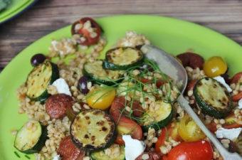 zucchini, barley and Chorizo Salad