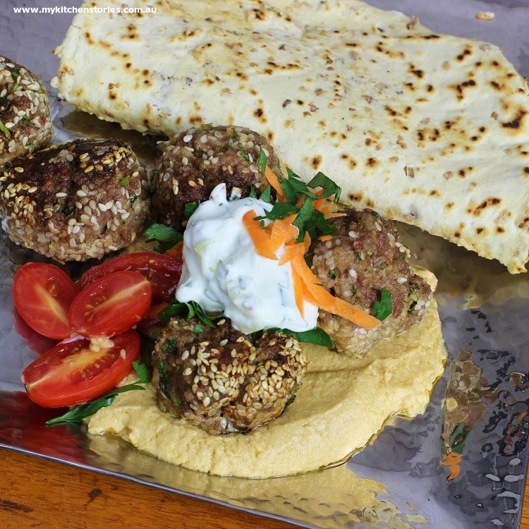 Beef and feta balls with flat bread