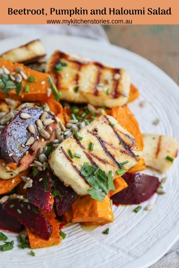 Beeroot, Pumpkin and Haloumi Salad with seeds on a white plate