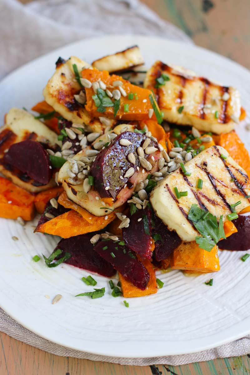 Grilled Haloumi salad with roast pumpkin and beetroot dressed with chives