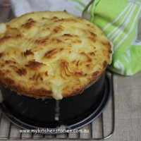 Chicken Spinach and feta Pie browned