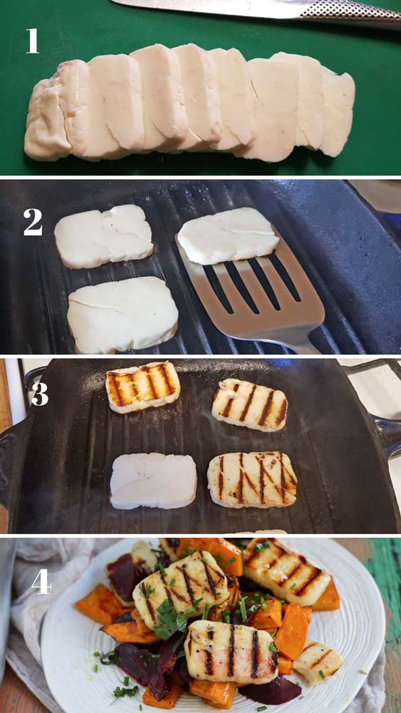 Hut to cut and grill haloumi in a grill pan