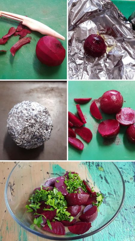 Pictures that show how to prepare beetroot for salad