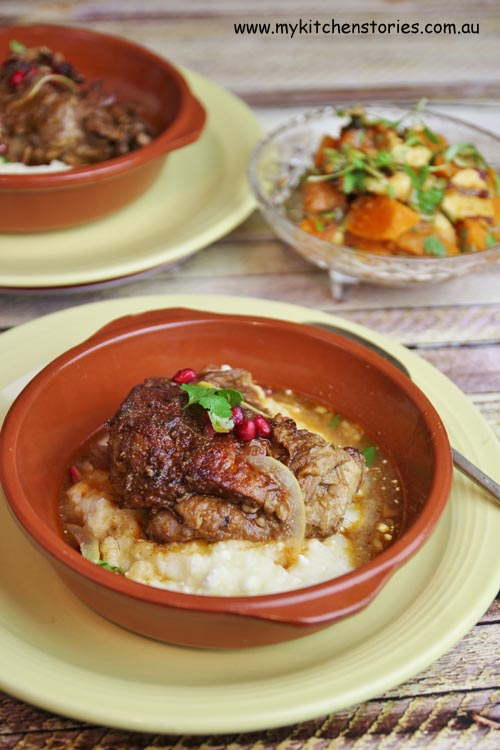 Slow cooked lamb with Feta mash