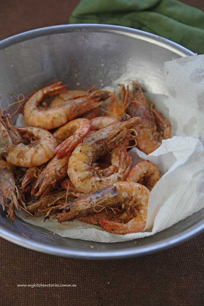 Salt and Pepper Prawns in a bowl