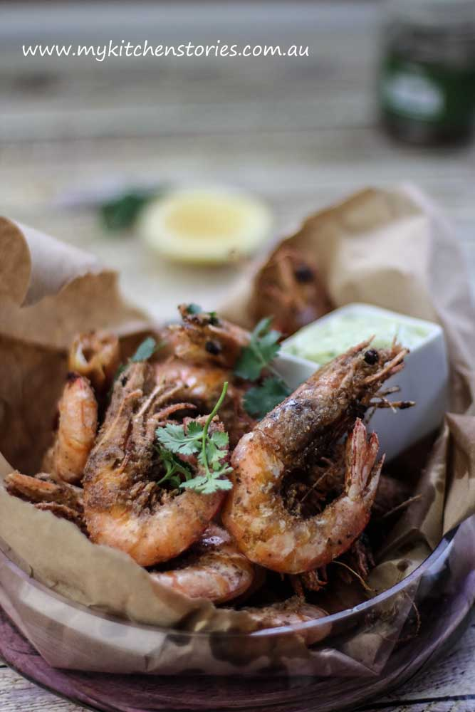 Salt and Pepper Prawns with lime