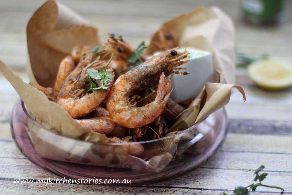 Salt and Pepper Prawns with mayo