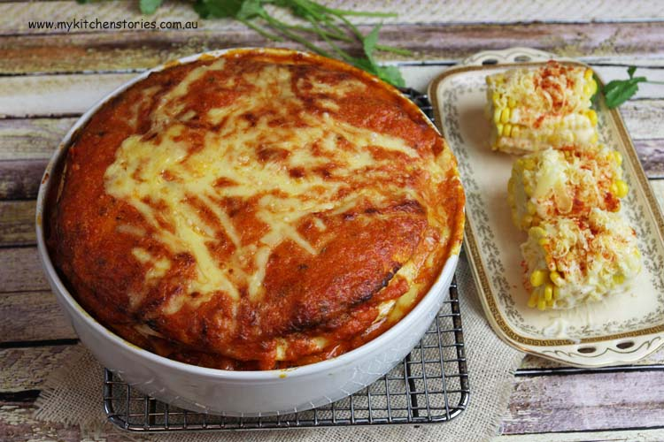 Tortilla Chicken Lasagne with cheesy corn