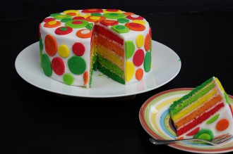 Rainbow Cake sliced and decorated