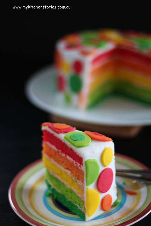 Rainbow Cake, moist and delicious