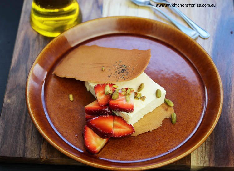 Olive Oil Semifreddo with Strawberries and balsamic