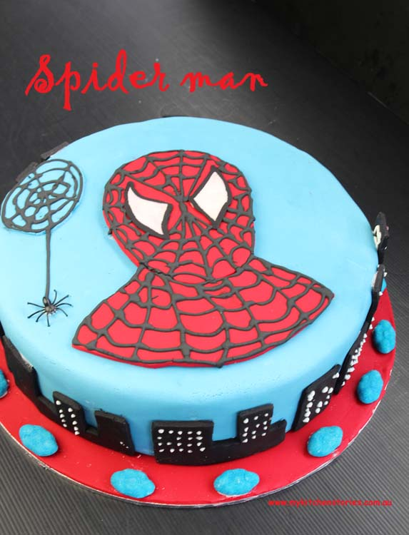 Pleasing How To Decorate A Spiderman Cake My Kitchen Stories Funny Birthday Cards Online Inifofree Goldxyz