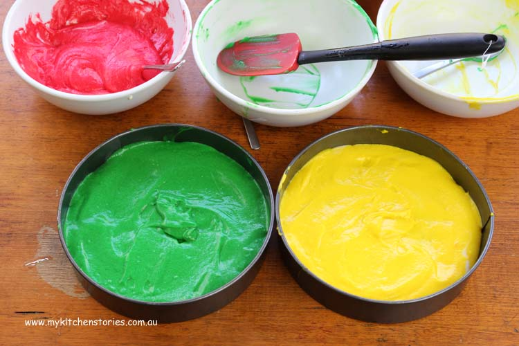 Rainbow Cakes in bright coloured mixes