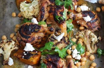 barbecued Spatchcock with Pumpkin, cauliflower and chickpeas