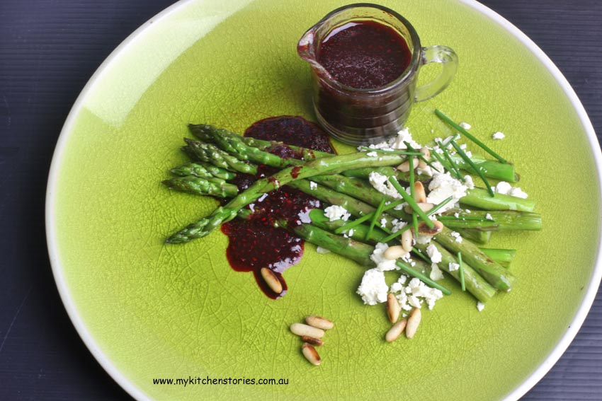 Asparagus with pinenuts and beetroot chia dressing