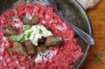Beetroot risotto and balsamic beef
