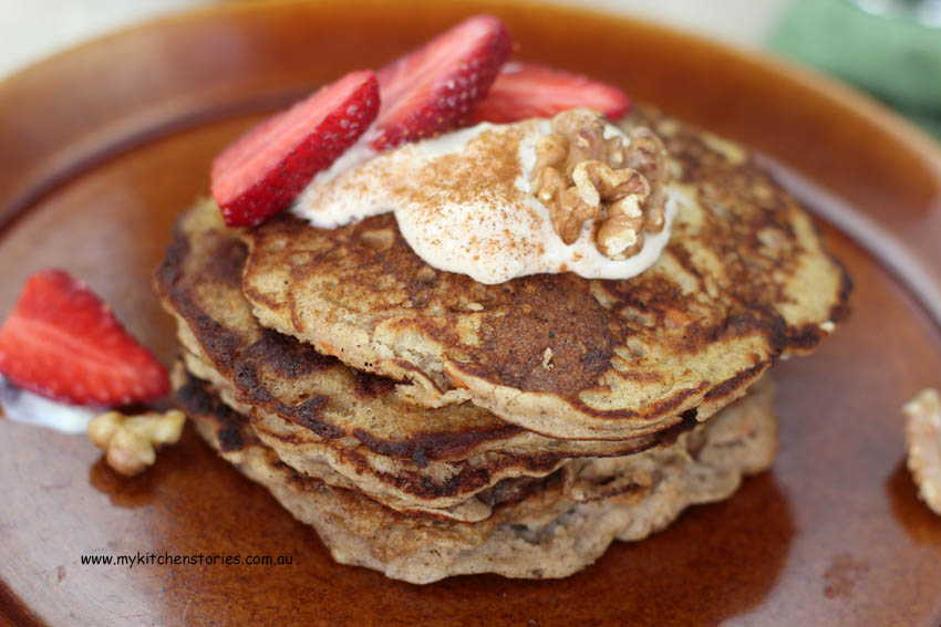 Sweet Carrota and ricotta Pancakes with strawberries