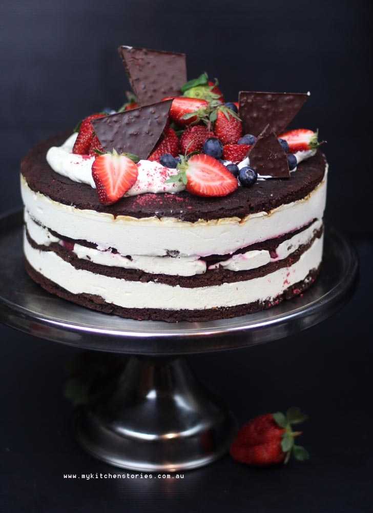 Brownie and raspberry ice cream cake