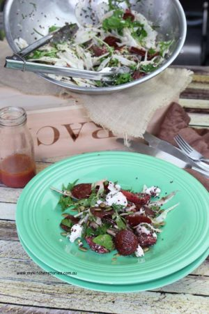 Chilli peperilli salad with Fennel salad