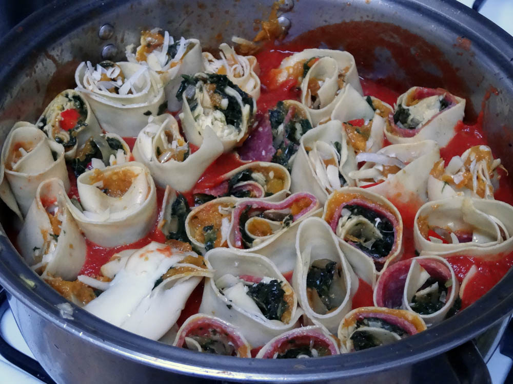 Pumpkin Rotolo with Hungarian Salami
