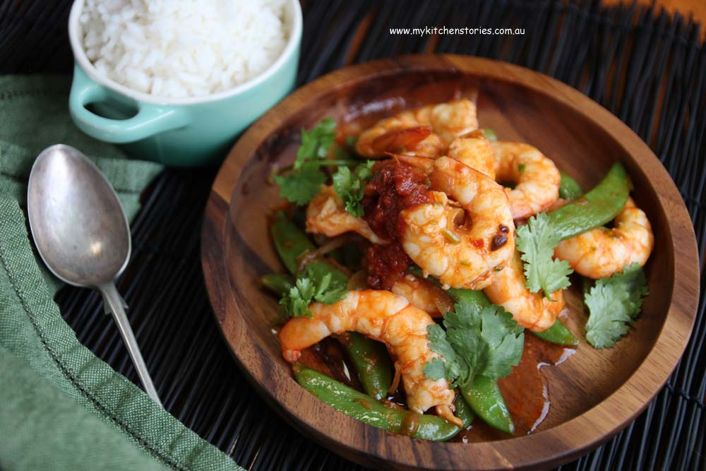 Prawns with Hot Lover sauce and coriander
