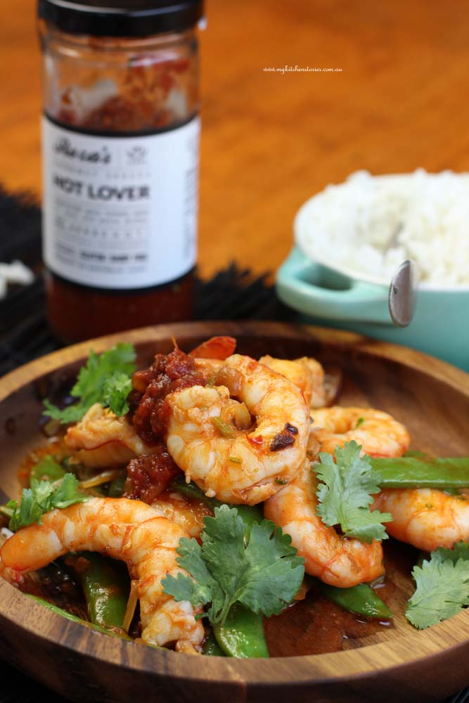 Prawns with Hot lover sauce and rice