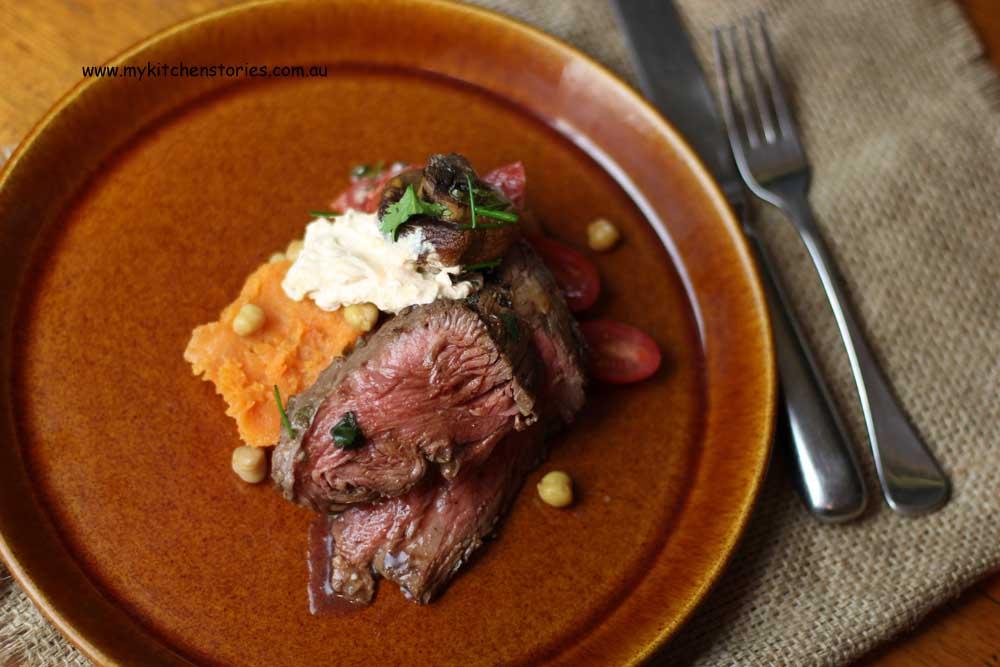 fillet sweet potato and mushroom salad