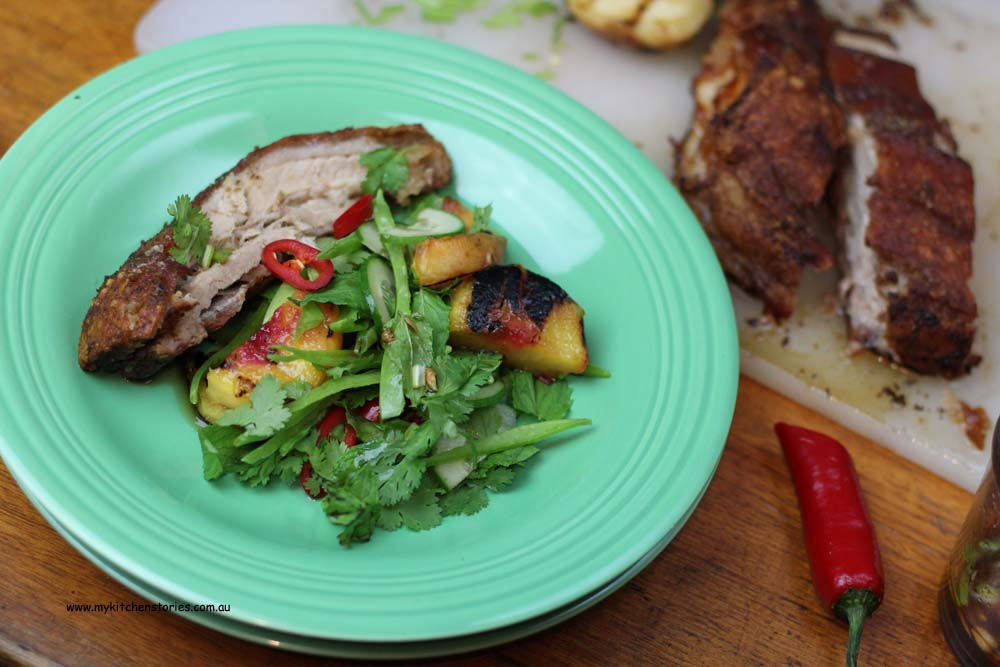 Crisp Pork belly with grilled peaches
