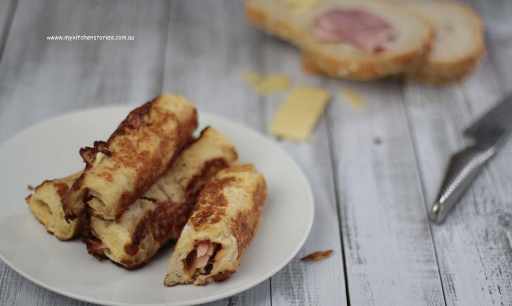ham and cheese French Toast rolls ready to eat