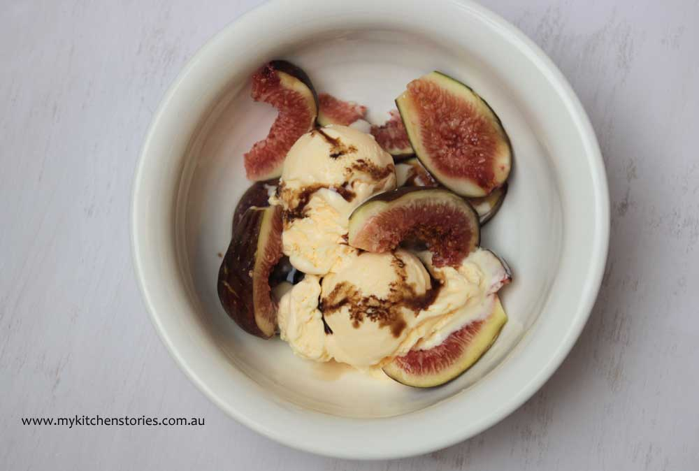 Figs with sour cream ice cream and saba