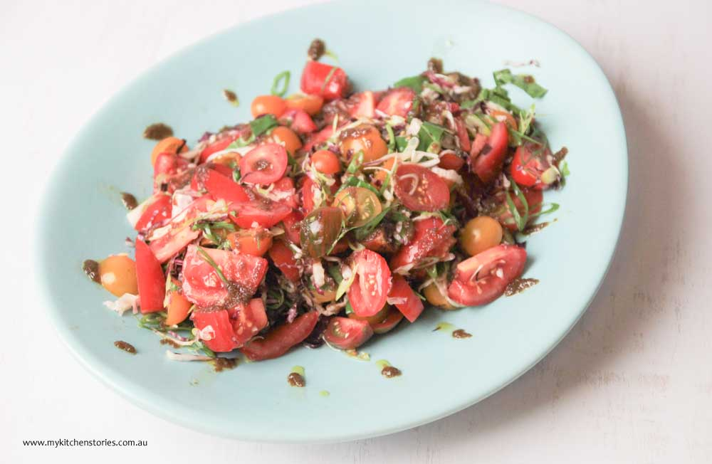 Tomato Salad with heirloom tomatoes and herbs