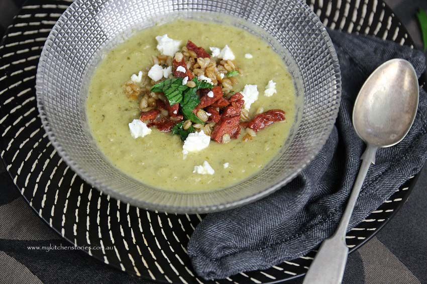 Soup with leftover vegetables with feta