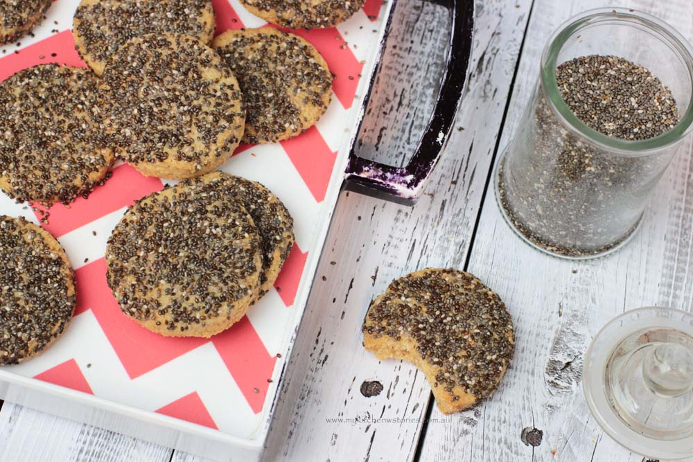 Chia and spelt cokies on a red and white tray