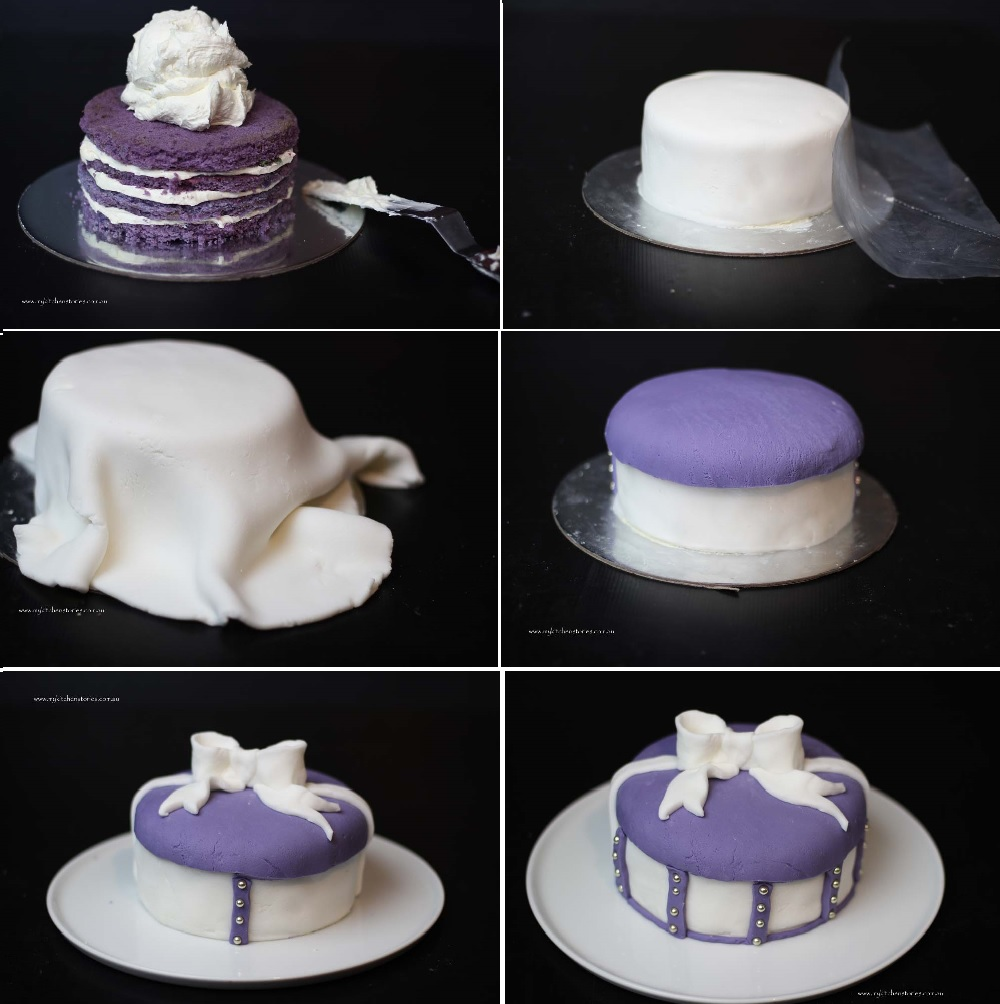 Making a Purple Bow Cake