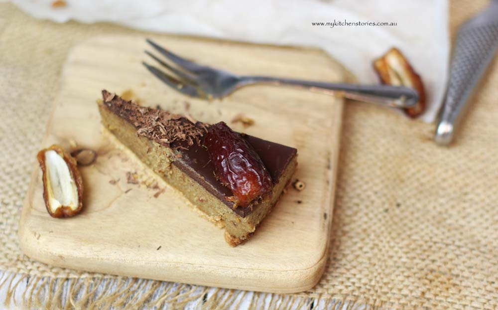 One slice of date caramel Chocolate Tart