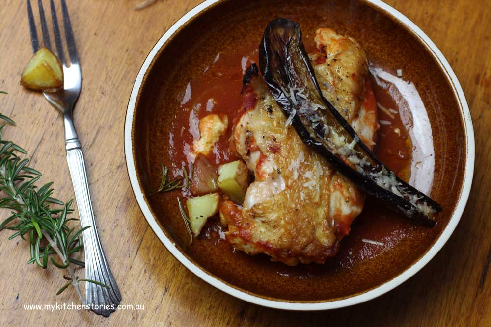 Chicken, baked with rosemary and parmesan