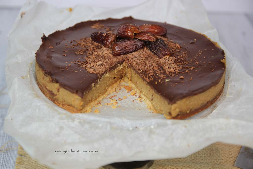 Date Caramel Chocolate Tart cut open by My Kitchen Stories