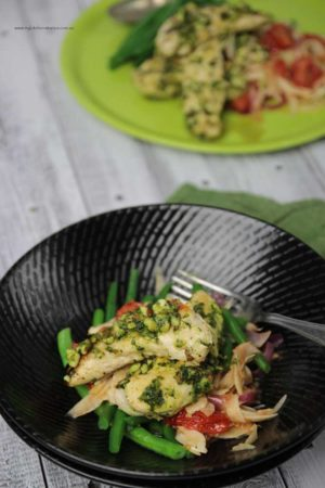 Kale, Spinach Basil Pesto with chicken