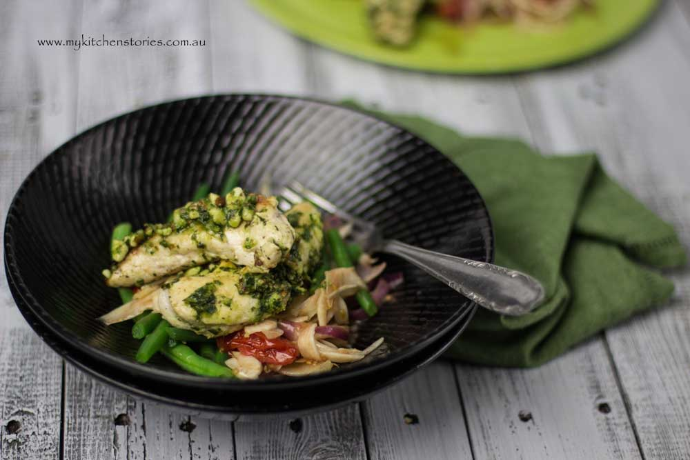 Kale Spinach Basil Pesto with chicken and beans