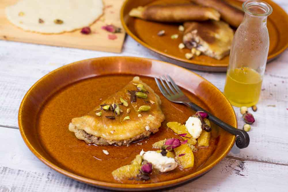 Atayef Pancakes with orange syrup