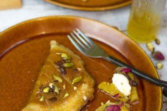 Atayef Pancakes stuffed with chocolate