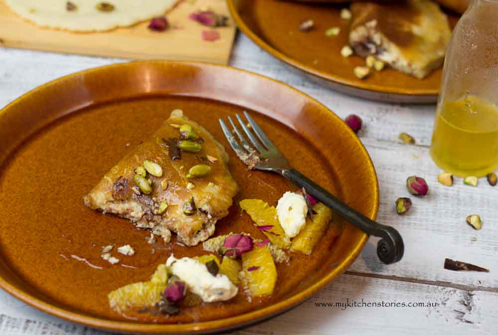 Atayef with chocolate and orange