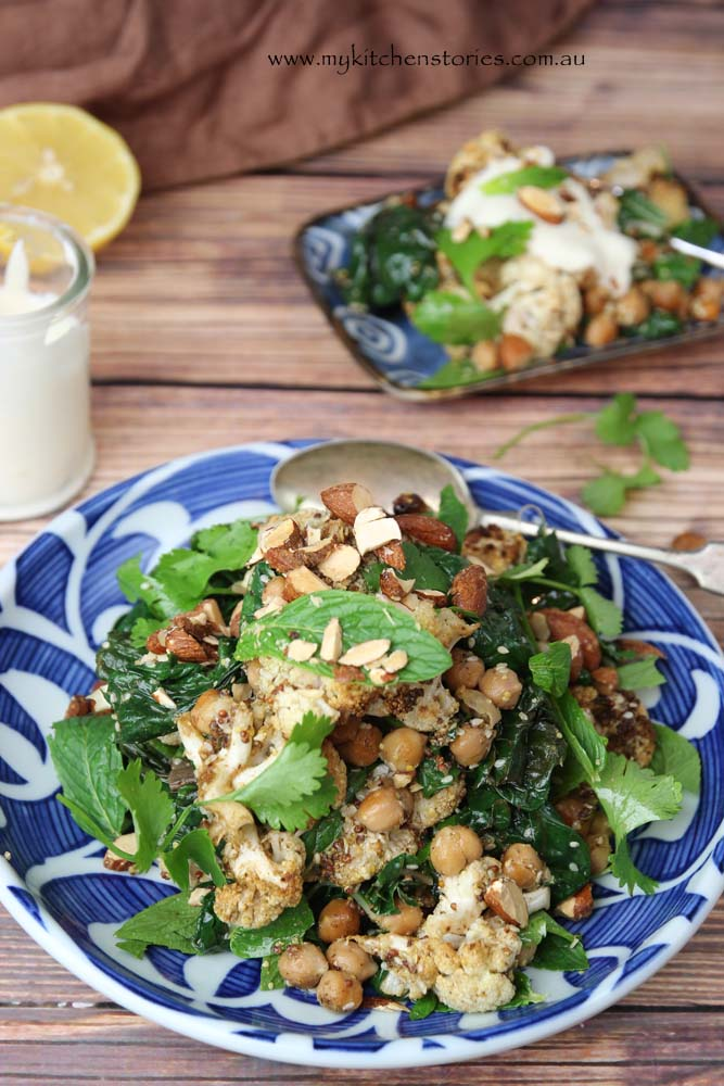 Spice Roasted Cauliflower, Chickpea Salad with Mint