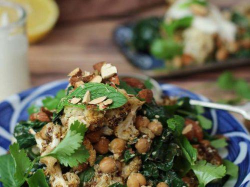 Spice Roasted Cauliflower Chickpea Salad