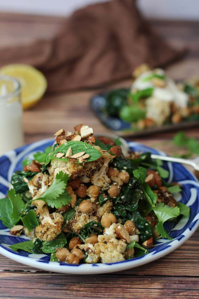 Spice Roasted Cauliflower, Chickpea Salad