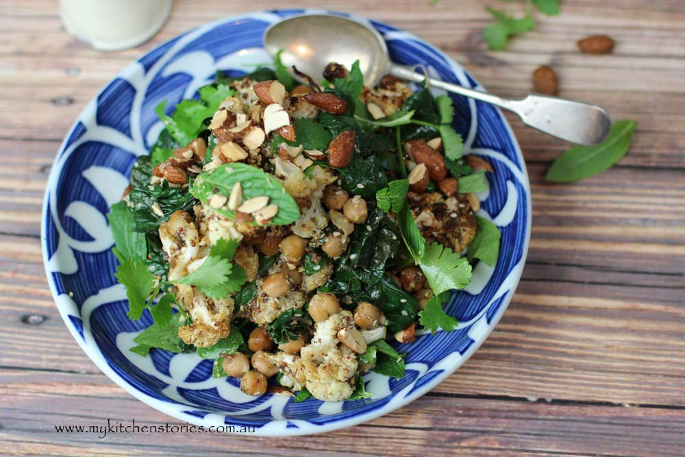 Spice Roasted cauiflower, chickpea Salad with Almonds