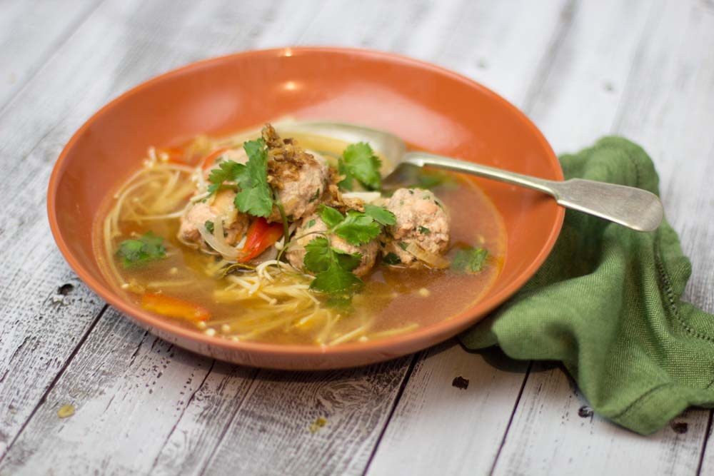 Salmon meatballs in hoisin broth- My Kitchen Stories